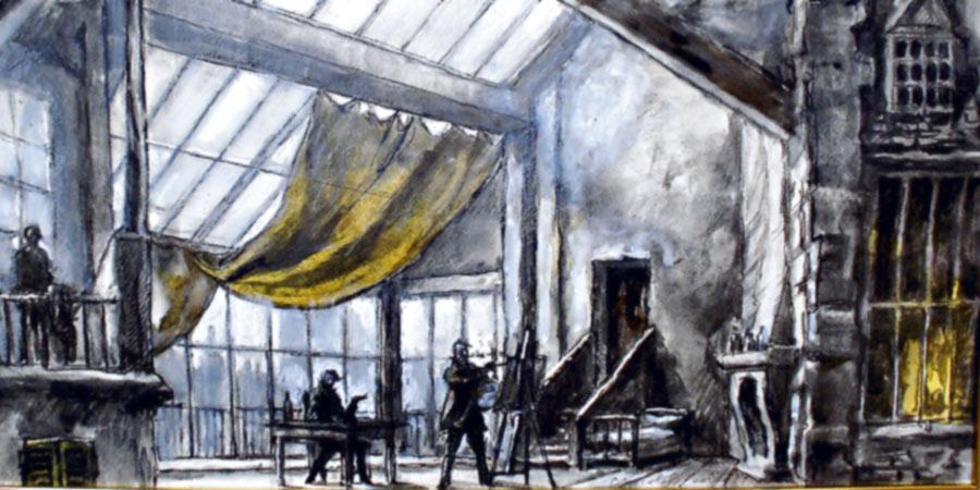 Boceto del diseó de Nicola Benois, para el primer acto. foto latercera